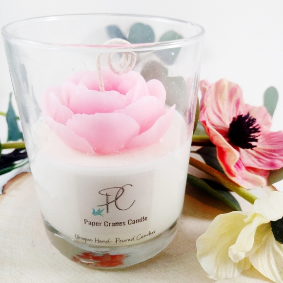 Hand Crafted Other - Camellia flower soy wax candle, gift, home decor